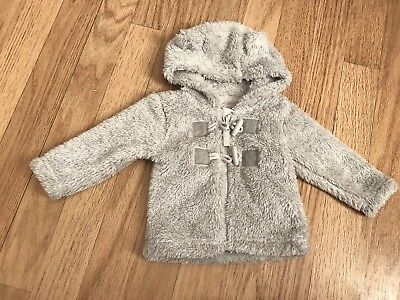 Baby boys Grey Fluffy Fleece Winter Coat Jacket Zip Hood Ears 0-3 months