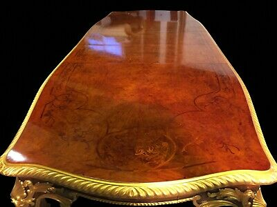 Gorgeous 10.9ft Grand Burr Walnut Marquetry dining table Pro French polished