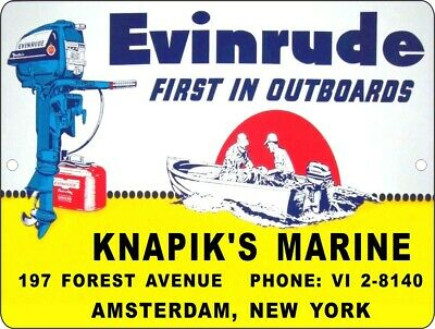 "Vintage Reproduction Evinrude Outboard Motor 9"" x 12"" Metal Tin Aluminum Sign 1"