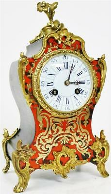 Antique French Brass Inlaid 8 Day Red Shell & Bronze Mounted Boulle Mantel Clock
