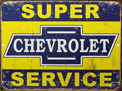"Vintage Chevrolet Super Service Reproduction 9"" x 12"" Metal Tin Aluminum Sign"