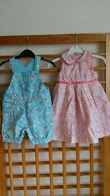 baby girls outfits dress and short dungarees Mothercare 6-9 months