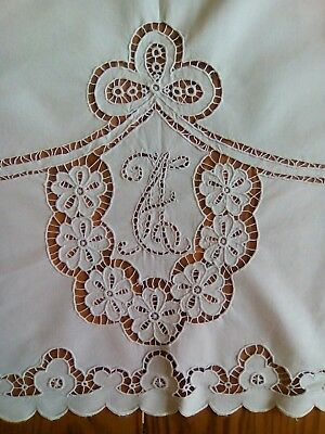 "BEAUTIFUL UNUSED VINTAGE 33""x42"" WHITE LINEN TABLECLOTH ~ CUT WORK - MONOGRAMMED"