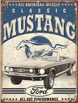 """Vintage FORD Pony Mustang Classic Reproduction 9""""x12"""" Metal Tin Aluminum Sign"""