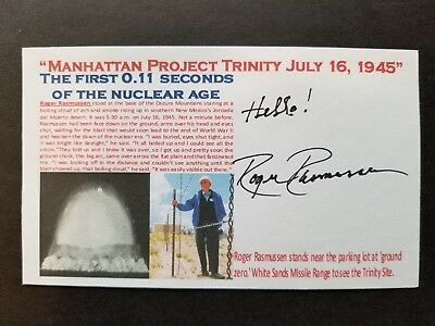 """ROGER RASMUSSEN """"MANHATTAN PROJECT TRINITY"""" 7-16-1945 Autographed 3x5 Index Card"""