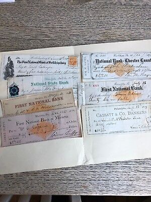 Seven 1860s/1870s Pennsylvania Checks With Revenue Stamps