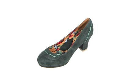 Miss L Fire 36 LUPITA Green Suede Heels Pumps Court Retro Vtg 40s 50s style