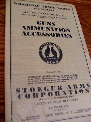 Vintage 1939 Stoeger Arms Corporation  Catalog # 30