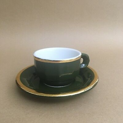 Pillivuyt Pilivite Chomette Bistro Small Gold Green Coffee Cup & Saucer - Aplico