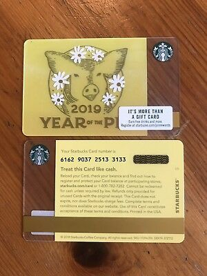 5 Starbucks Chinese New Year 2019 Gift Card  Year of The Pig LOT