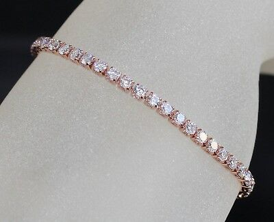 Tennis Created Tiny Diamond Rose Gold GF Bracelet - 16.5cm