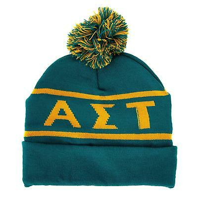 6ee3f4f4c30e8 Alpha Sigma Tau Sorority Letter Winter Beanie Hat Greek Cold Weather Winter  AST