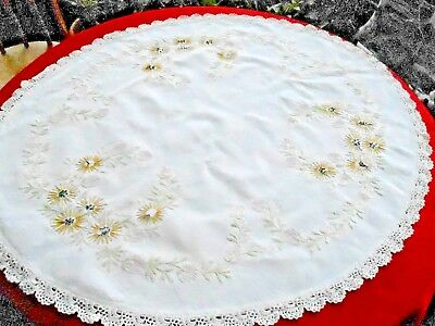 Antique Round Table Topper /black Eye Susan Embroidery&cr0Chet Lace Trim, C.1920