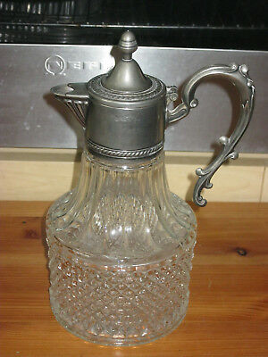 ionLOVELY VINTAGE CLARET JUG PITCHER WINE DECANTER SILVER PLATED TOP HAND