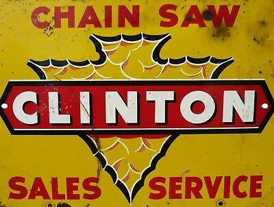 "Vintage Reproduction Clinton Chain Saw 9"" x 12"" Metal Tin Aluminum Sign"