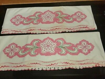 2 Vintage Embroidered Pillowcases pink Flowers/green leaves Pink Crocheted Edge