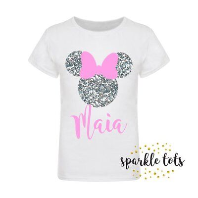 Disney t-shirt personalised childrens kids Minnie ears Minnie mouse glitter bow