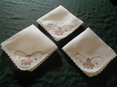 3 Beautiful Hand Embroidered Beige Napkins With A Crochet Edge, Circa 1940