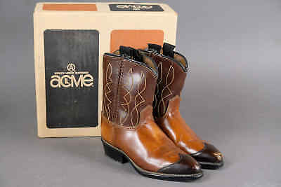 Vintage 1960s ACME Toddler Kids Childs Leather Cowboy Western Boots w/ Box 7D