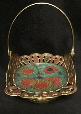 SOLID Brass Hand-Painted Basket Moving Brass Handle Vintage Made In INDIA