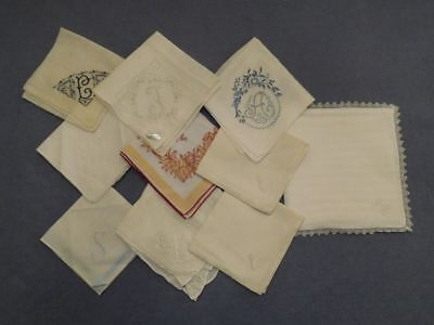 Lot of 9 Vintage Handkerchiefs Hankies All Monogrammed  Plus Hankie Pouch