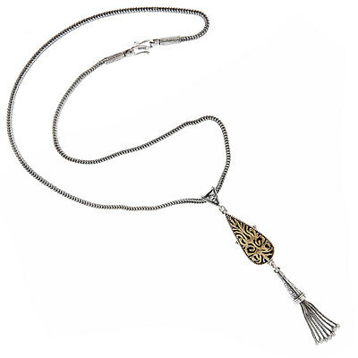 Savati ~ Solid Gold & Sterling Silver Byzantine Fringed Necklace