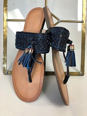 a92f9dc04effc Tommy Hilfiger Blue Leather Tassel T-Strap Sandals Women s Shoe Sz 8.5