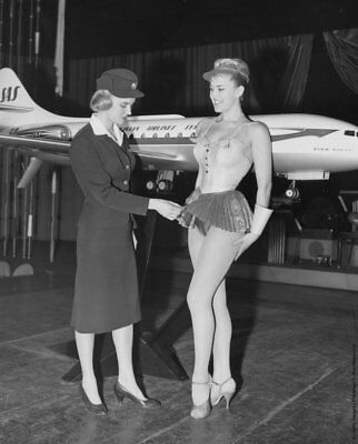 GLOSSY PHOTO PICTURE 8x10 Vintage Stewardess Black And White