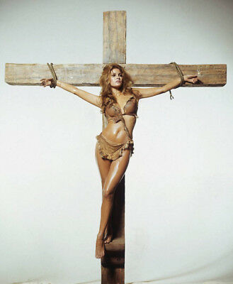 GLOSSY PHOTO PICTURE 8x10 Raquel Welch Posing On The Cross