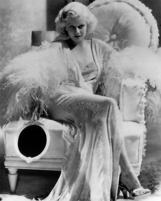 GLOSSY PHOTO PICTURE 8x10 Actress Jean Harlow Sitting
