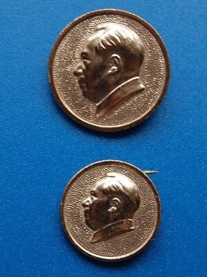 China Chairman Mao Zedong Pin Badge Cultural Revolution 1967 Chinese  Lot of (2)