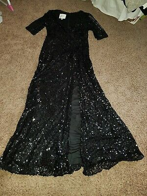 Wonder By Jenny Packham Black Sequin Long Dress Sz 12 19500