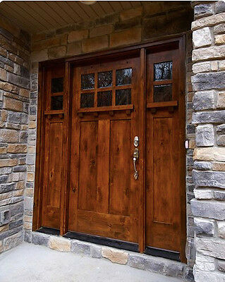 3068 Highland Style Craftsman Knotty Alder Entry Door With Sidelights