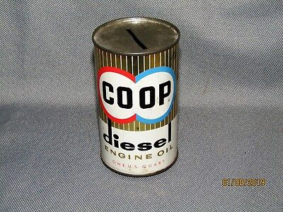 Vintage CO-OP Diesel Engine Oil Can Bank, Sample, COOP, Advertising Rare!