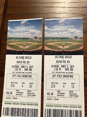 2. Tickets Spring Training Baltimore Orioles At Boston Red Sox 3/2/19 Ft Myers,F