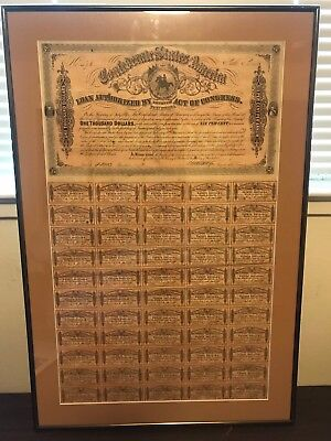 1864 Confederate States of America $1,000 Bond 59/60 Coupons Attached 6th Series
