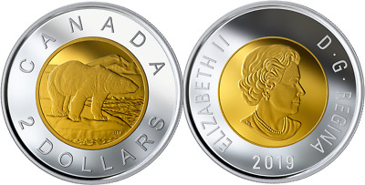 2019 Polar Bear $2 Toonie Proof Silver Coin Canada w/Gold-plating from D-Day Set