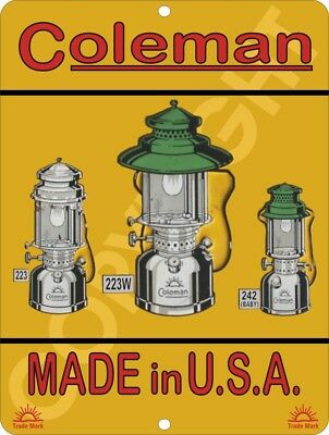 COLEMAN Vintage Reproduction Lamps & Lantern Quick-Lite Metal Tin Sign 9x12 #3