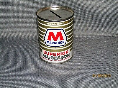 Vintage M MARATHON SUPERIOR ALL-SEASON Oil Can Coin Bank