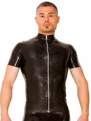 Skin Two Clothing Men's Sexy T-shirt Latex Rubber Black Armour Printed Fitted
