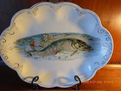 Large Antique Fish Platter, Excellent Condition