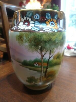 Large Hand Painted NIPPON VASE Tree water House Imperial Nippoin Green LOGO
