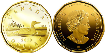 2019 Loon Dollar Loonie Proof Silver $1 Coin Canada w/GoldPlating from D-Day Set