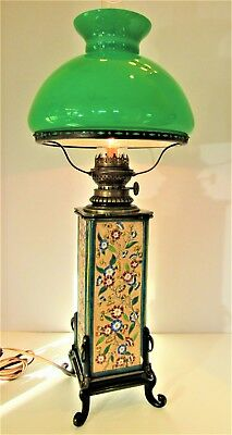 Rare Stunning French Enameled Longwy Pottery Lamp w Green Case Glass Shade C1890