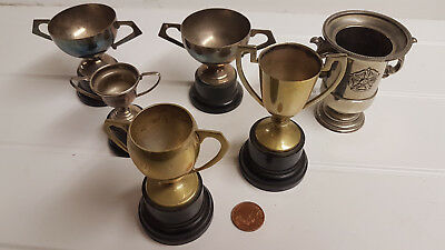 6 x Vintage Prize Trophy Tin Cup Goblet + Wood Base - Possibly Silver Plate