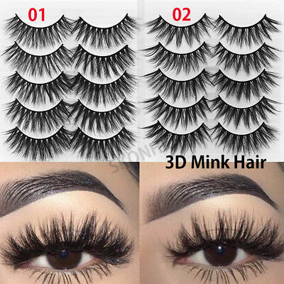 3a5f8fcf8a0 -SKONHED 5Pairs*Soft 3D Mink Hair False Eyelashes Wispy Thick Cross Long  Lashes-