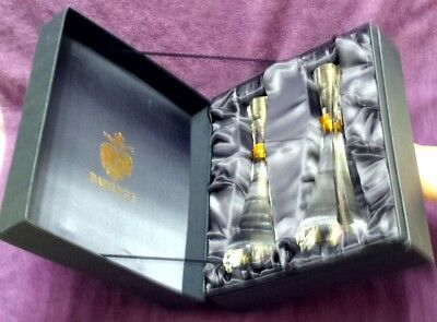 2 Faberge Luminaire Crystal Candlestick Holders in Original Presentation Box