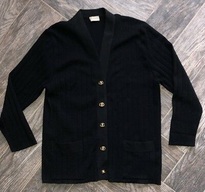 Vtg Saks Fifth Avenue Women's M Black Cardigan Sweater Made In Italy