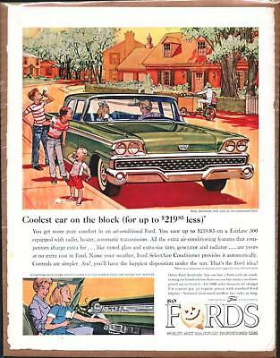 1959 FORD FAIRLANE 500 Vintage Promo Color Ad
