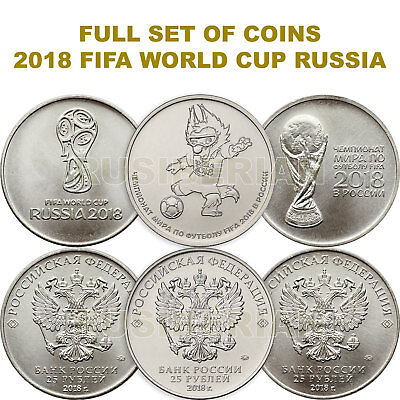 Full Set 2018 Fifa World Cup Russia 25 Rubles Coins 2016 - 2017